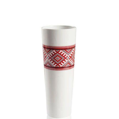 Керамическая ваза с орнаментом Eterna Ukraine белая глянцевая высотой 38 см, фото