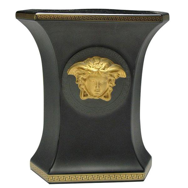 Черная ваза Rosenthal Versace Gorgona с золотой медузой