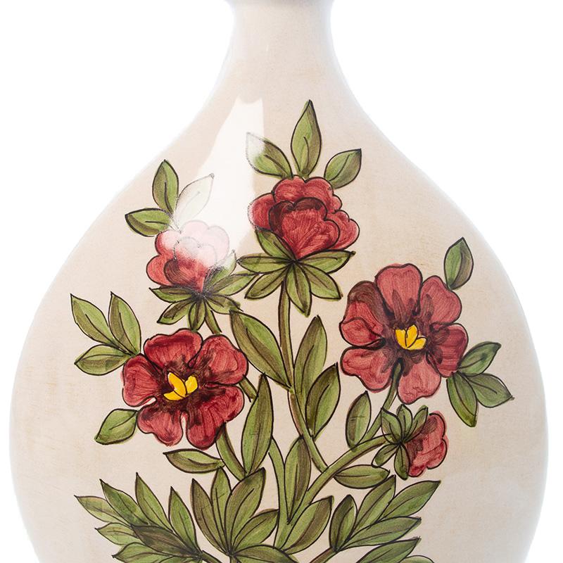 Ваза L'Antica Deruta Ботаника Peonia с узким горлышком