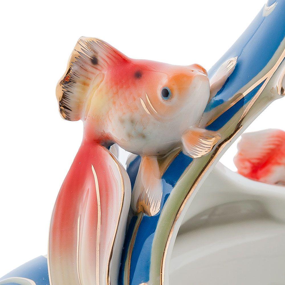 Ваза Pavone FM Золотые рыбки в ярко-синих тонах