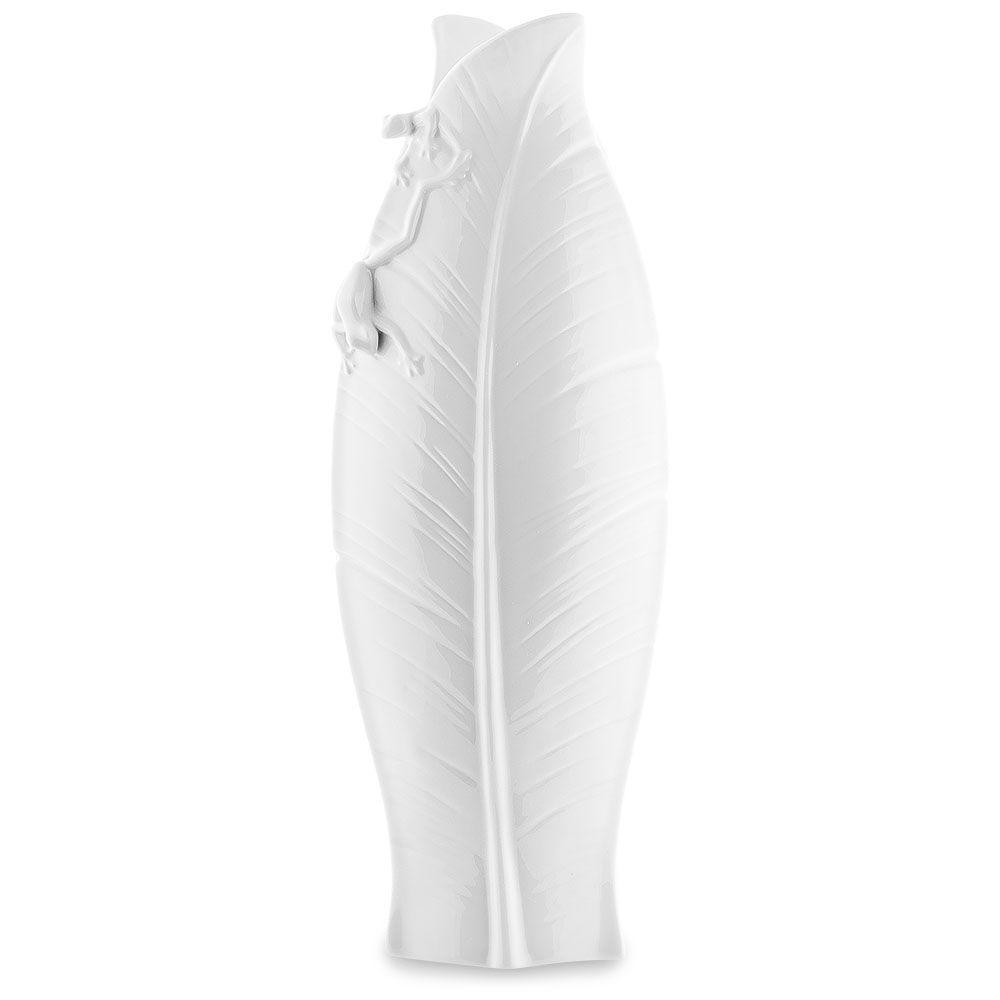 Белая фарфоровая ваза Pavone FM Тропические лягушки средняя