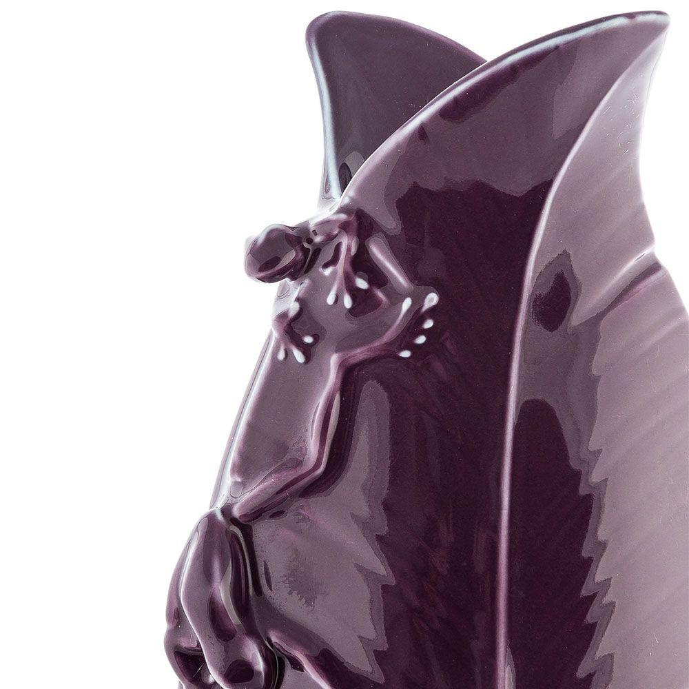 Фарфоровая ваза Pavone FM Тропические лягушки темно-фиолетовая