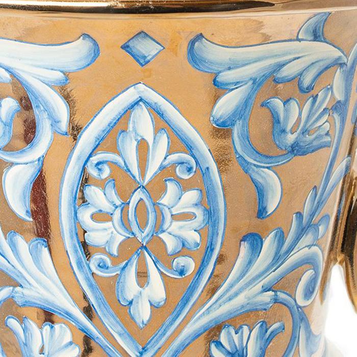 Большая ваза L'Antica Deruta Oro Antico на ножке