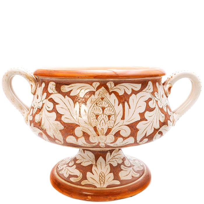 Широкая ваза L'Antica Deruta Scalfito на ножке