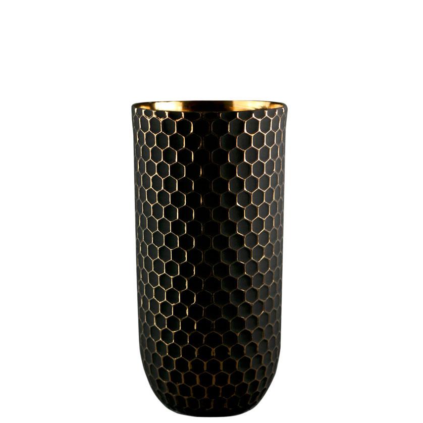 Ваза Ceramika Design Xago черного цвета с золотистым орнаментом