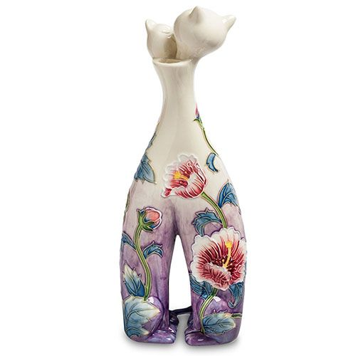 Статуэтка-ваза Pavone JP Парочка кошек в сиренево-розовой гамме, фото