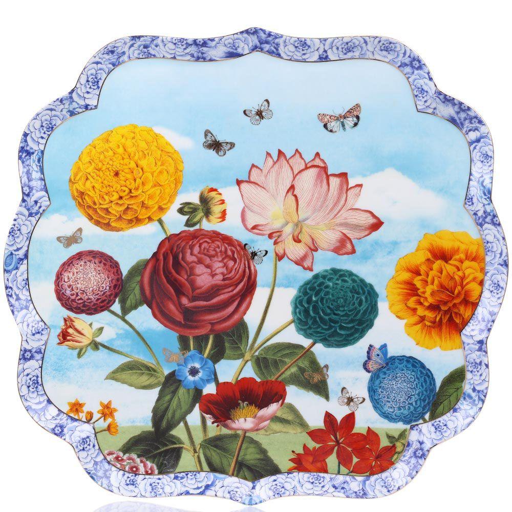 Поднос Pip Studio Royal фарфоровый с ярким цветочным принтом