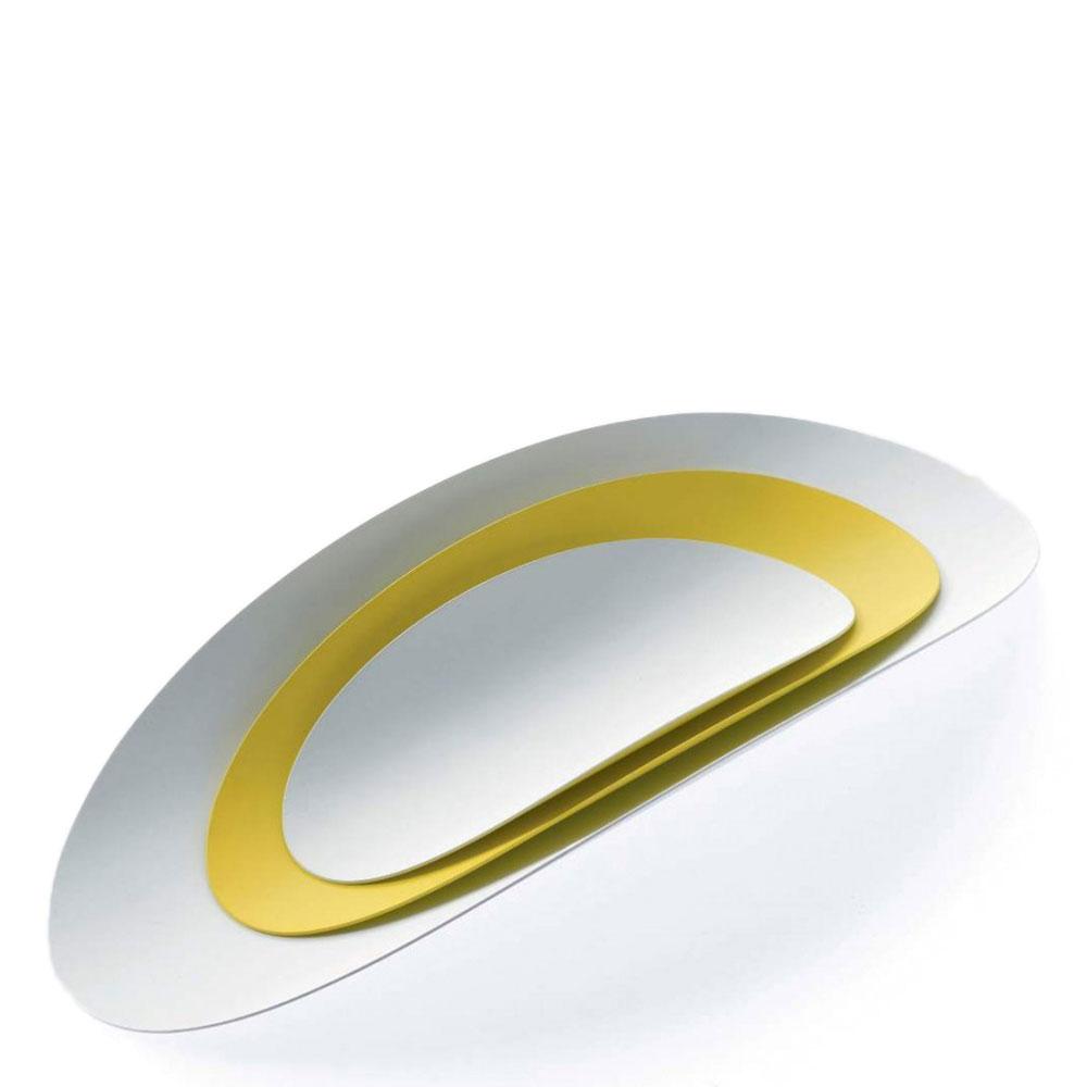 Набор из 3 подносов Alessi Ellipse белый с желтым