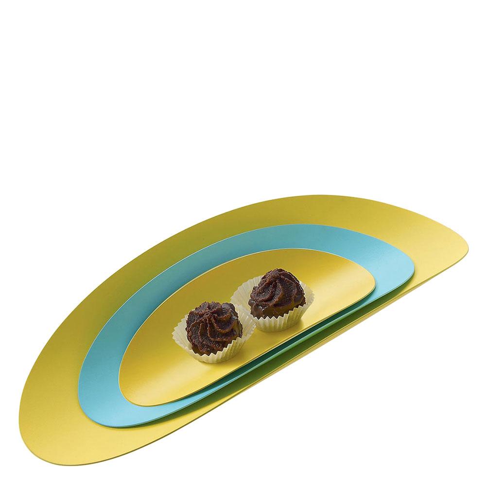 Набор из 3 подносов Alessi Ellipse голубой с желтым