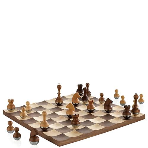 Шахматы Umbra Wobble с хромированными фигурами, фото