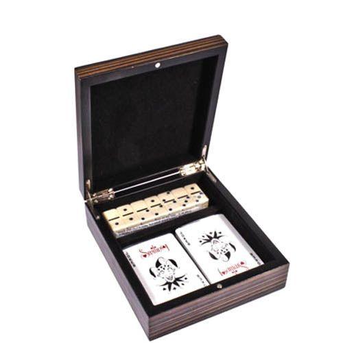 Набор игральные карты и домино в деревянной коробке, фото