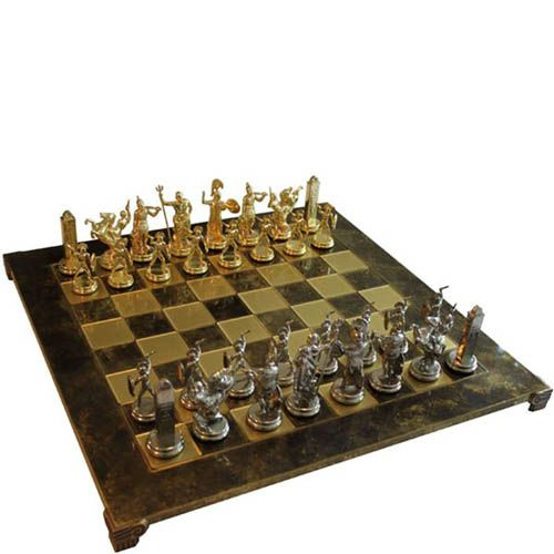 Шахматы Manopoulos Троянская война коричневые в деревянном футляре, фото