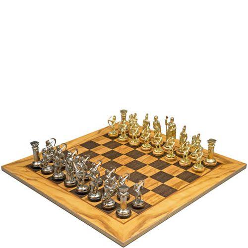 Шахматы Manopoulos Оливковый совет и троянская война в деревянном футляре, фото