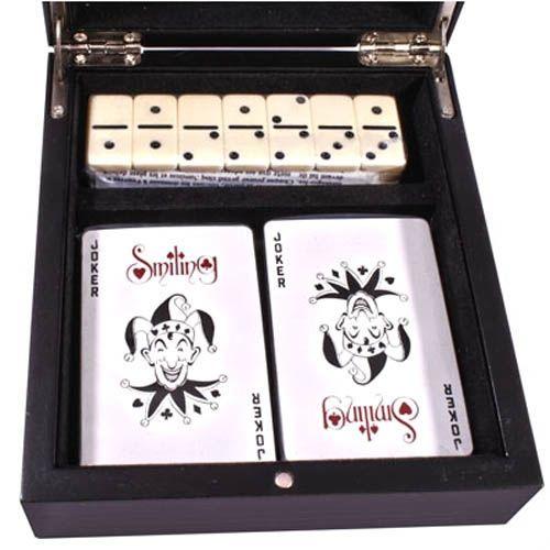 Набор игральные карты и домино в деревянной коробке