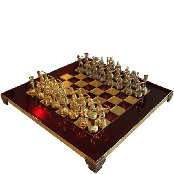 Шахматы Manopoulos Олимпийские игры красные в деревянном футляре