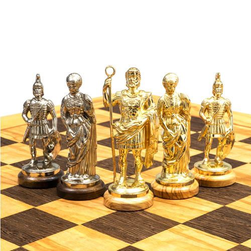 Шахматы Manopoulos Оливковый совет и троянская война в деревянном футляре