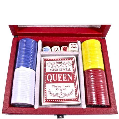 Набор для игры в покер Hong Kong в подарочном кожаном кейсе, фото
