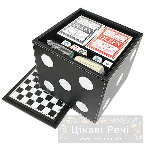 Набор из 6 игр Hong Kong в игральном кубе обтянутым кожей, фото