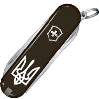 Нож Victorinox Swiss Army CLASSIC SD UKRAINE Трезубец черный на 7 предметов, фото