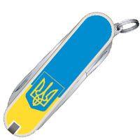 Нож Victorinox Swiss Army CLASSIC SD UKRAINE с гербом в желто-голубом цвете, фото