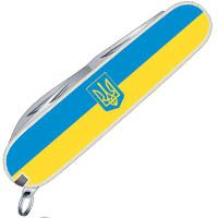 Нож Victorinox Swiss Army SPARTAN UKRAINE с гербом в желто-голубом цвете на 12 предметов, фото