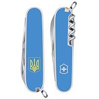 Нож Victorinox Spartan UKRAINE синего цвета с гербом на 12 предметов, фото