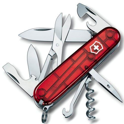 Нож Victorinox Climber полупрозрачный красный (14 предметов), фото