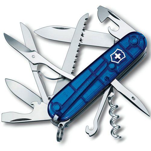 Нож Victorinox Huntsman полупрозрачный синий (15 предметов), фото