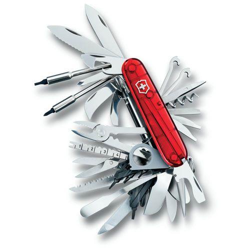 Нож Victorinox SwissChamp полупрозрачный красный (50 предметов) коллекционный, фото