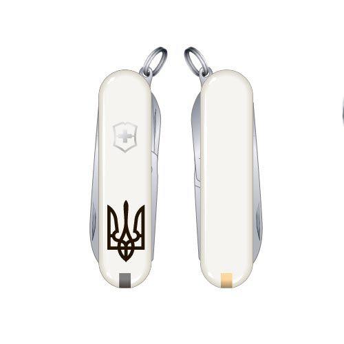 Нож Victorinox Swiss Army CLASSIC SD UKRAINE Трезубец белый на 7 предметов