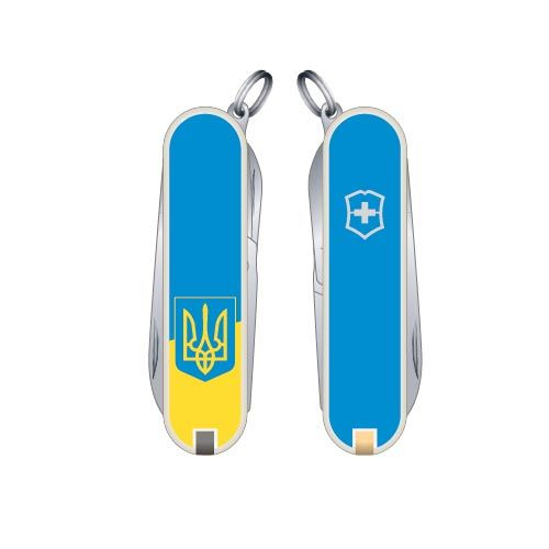 Нож Victorinox Swiss Army CLASSIC SD UKRAINE с гербом в желто-голубом цвете