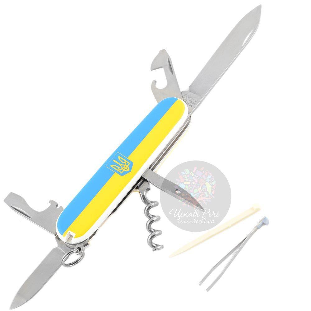 Нож Victorinox Swiss Army SPARTAN UKRAINE с гербом в желто-голубом цвете на 12 предметов