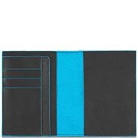 Обложка для паспорта Piquadro Blue Square из серой кожи, фото