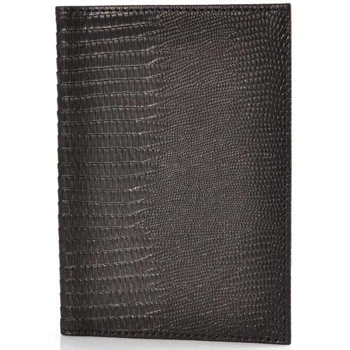 Кожаная черная обложка для паспора VIF Classic под варана, фото