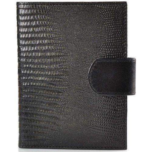 Кожаная черная обложка для водительских прав и паспора VIF Classic с текстурой варана, фото