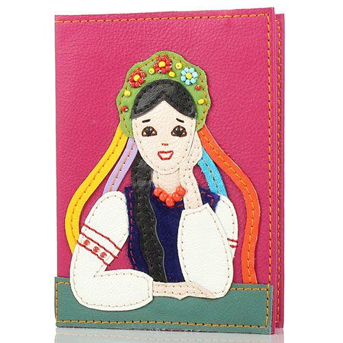 Обложка для паспорта Unique U цвета фуксии Украиночка, фото