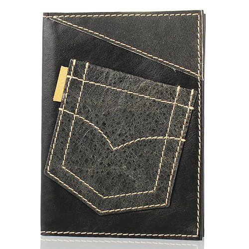 Обложка для паспорта Unique U  Джинсовый карман черного цвета, фото