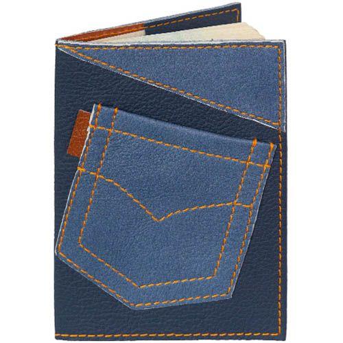 Обложка для паспорта Unique U Джинсовый карман синего цвета, фото