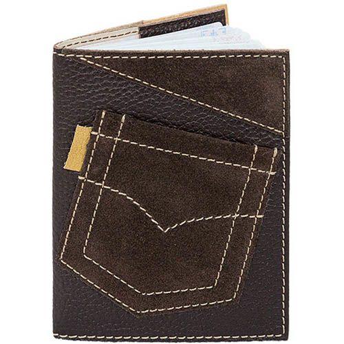 Обложка для паспорта Unique U Джинсовый карман коричневого цвета, фото
