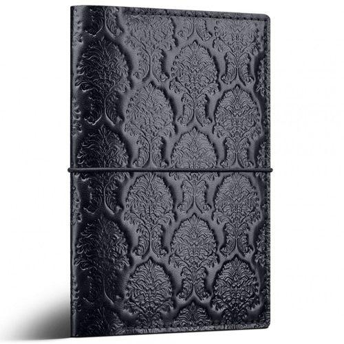 Черный кожаный кейс Moreca Damask для паспортов и документов, фото