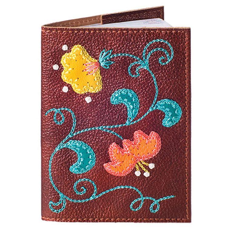 Обложка для паспорта Unique U  Вальс цветов золотисто-коричневая