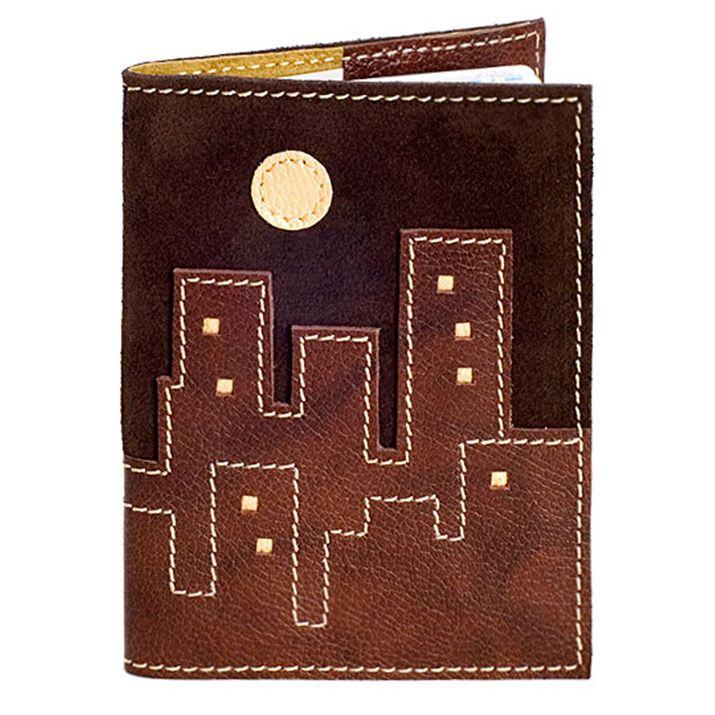 Обложка Unique U Ночной город коричневая для паспорта