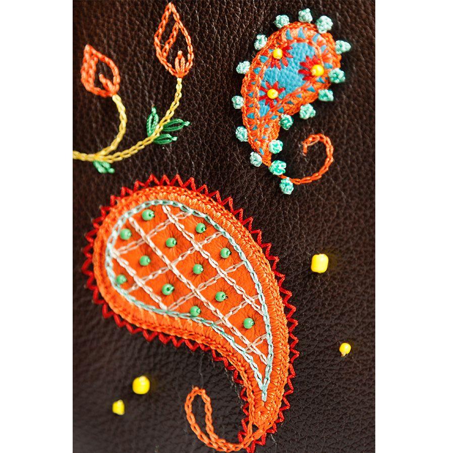 Обложка Unique U Пейсли для паспорта коричневая