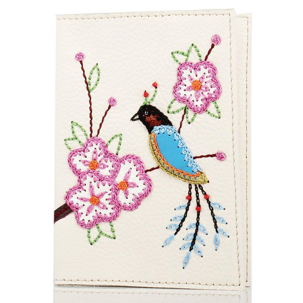 Обложка для паспорта Unique U бежевого цвета Японская птичка