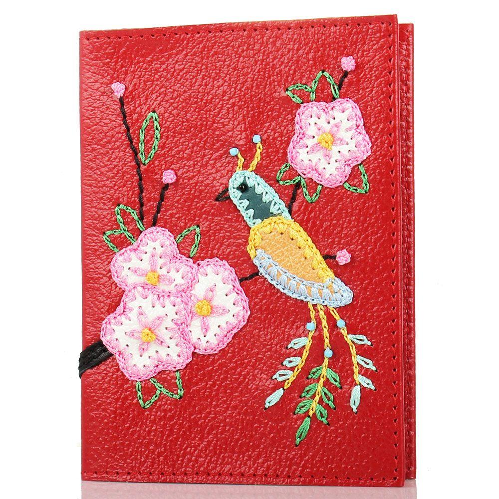 Обложка для паспорта Unique U красного цвета Японская птичка