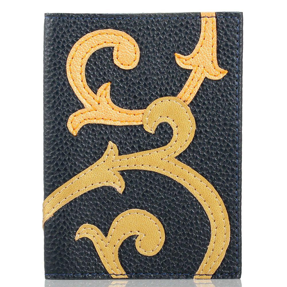 Обложка для паспорта Unique U синего цвета с вензелями Борокко
