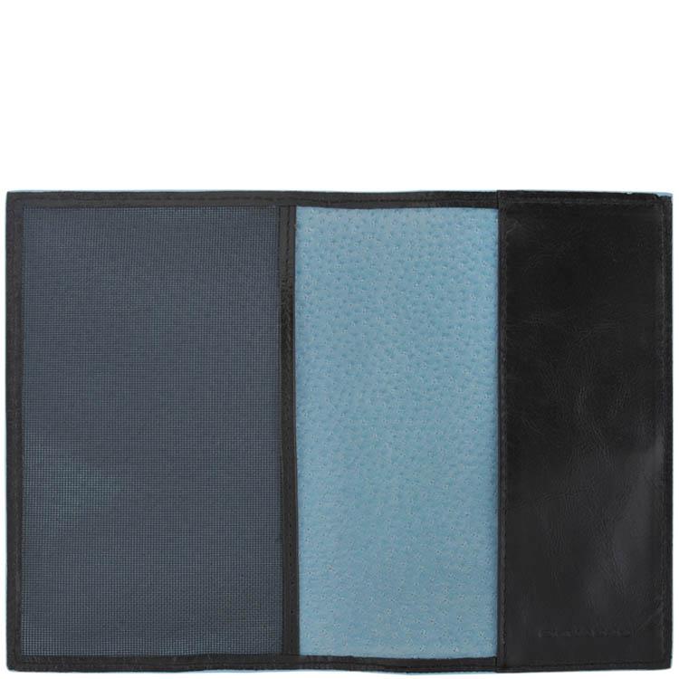 Черная обложка Piquadro Blue Square для паспорта из кожи