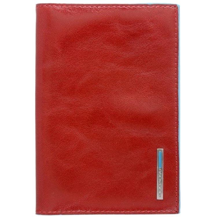 Красная обложка Piquadro Blue Square для паспорта из кожи
