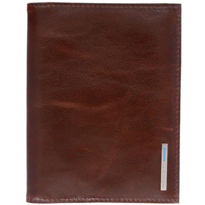 Коричневая обложка Piquadro Blue Square для паспорта с карманами