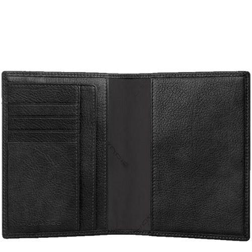 Обложка Piquadro Vibe для паспорта черная с карманами и слотами для карт